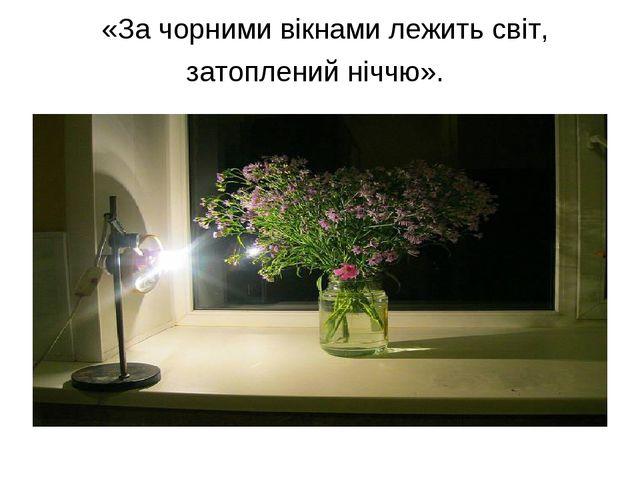 «За чорними вікнами лежить світ, затоплений ніччю».