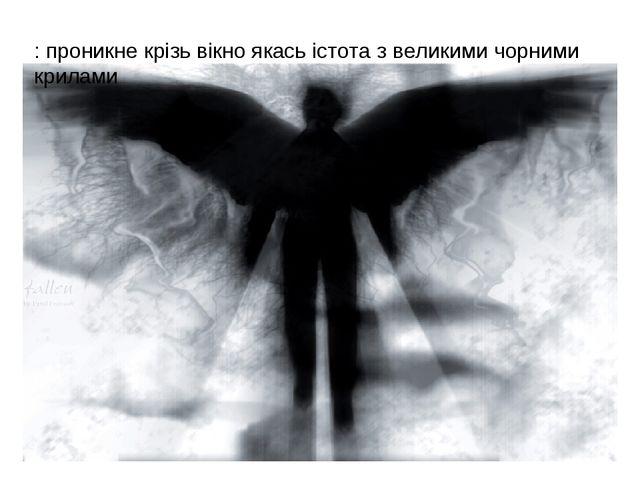 : проникне крізь вікно якась істота з великими чорними крилами
