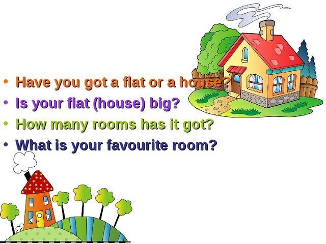 Have you got a flat or a house? Is your flat (house) big? How many rooms has...