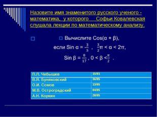 Назовите имя знаменитого русского ученого - математика, у которого Софьи Кова