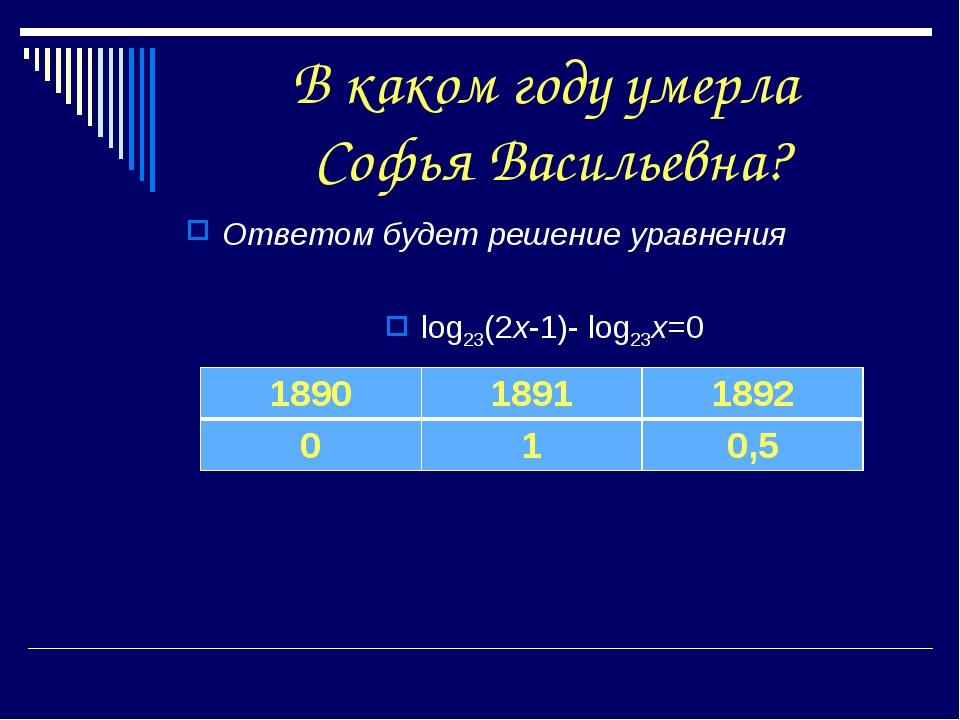 В каком году умерла Софья Васильевна? Ответом будет решение уравнения log23(2...