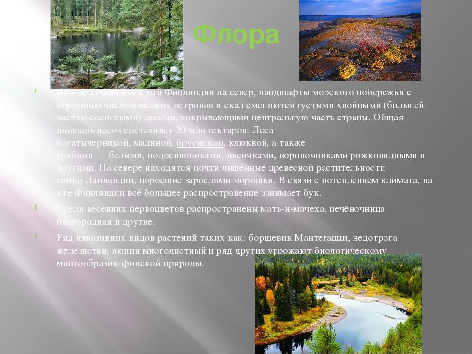 Флора При продвижении с юга Финляндии на север, ландшафты морского побережья...