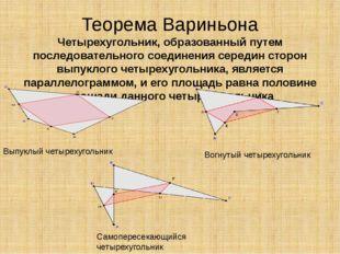 Теорема Вариньона Четырехугольник, образованный путем последовательного соеди