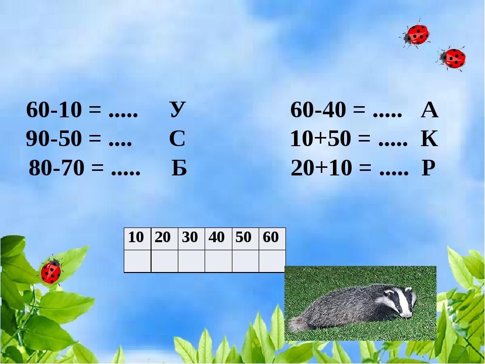 60-10 = ..... У 60-40 = ..... А 90-50 = .... С 10+50 = ..... К 80-70 = ........