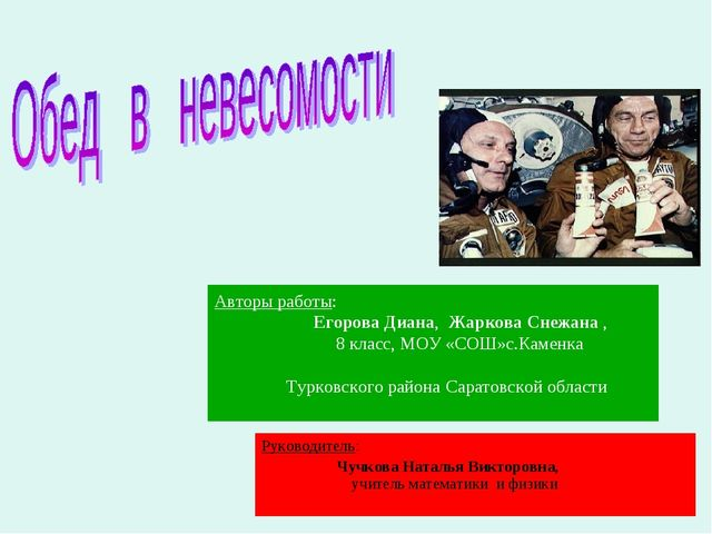 Авторы работы: Егорова Диана, Жаркова Снежана , 8 класс, МОУ «СОШ»с.Каменка Т...
