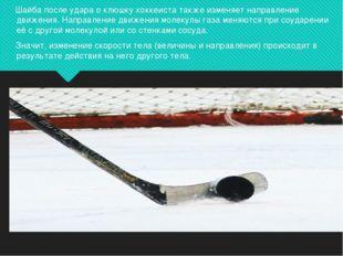 Шайба после удара о клюшку хоккеиста также изменяет направление движения. На