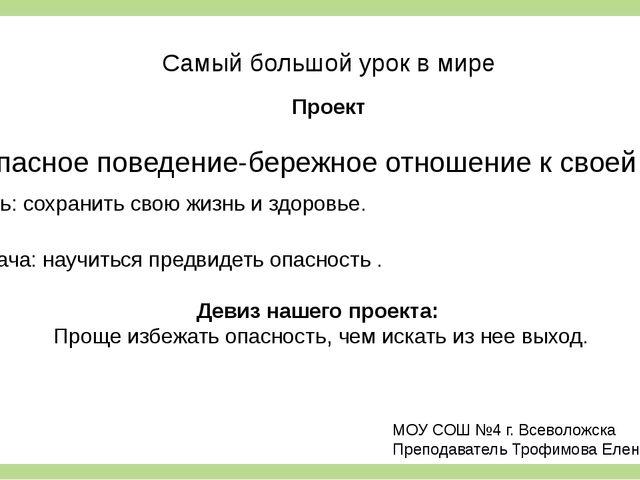 Самый большой урок в мире Проект Безопасное поведение-бережное отношение к св...
