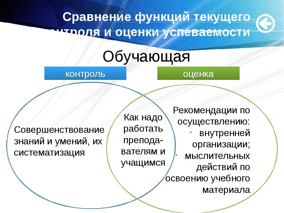 Сравнение функций текущего контроля и оценки успеваемости Совершенствование...
