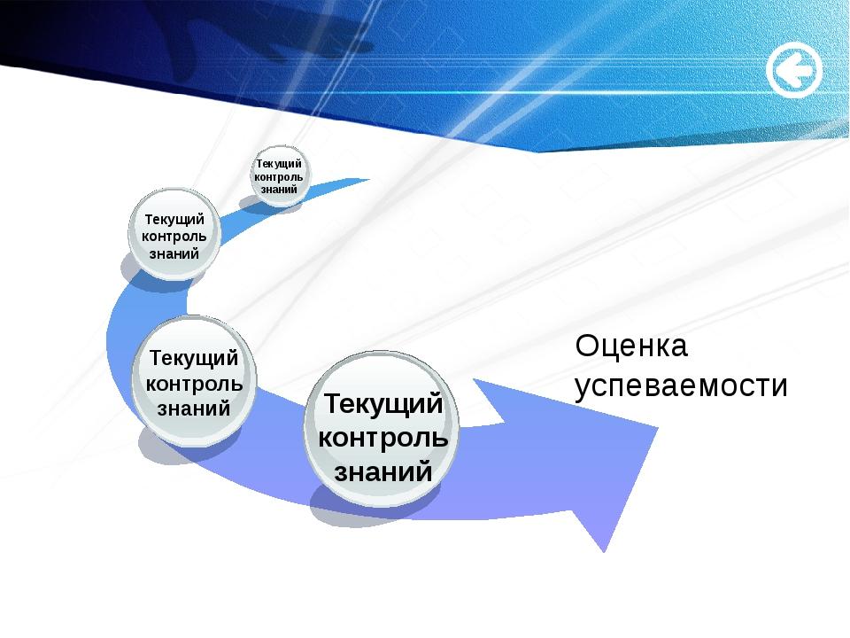 Оценка успеваемости Текущий контроль знаний Текущий контроль знаний Текущий...