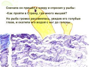Сначала он пришёл к озеру и спросил у рыбы: -Как пройти в Страну, где много м