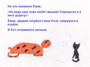 Но это оказался Ёжик. «Но ведь ежи тоже любят мышей! Спрошу-ка я у него дорог