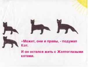 «Может, они и правы, - подумал Кот. И он остался жить с Желтоглазыми котами.