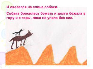И оказался на спине собаки. Собака бросилась бежать и долго бежала в гору и с