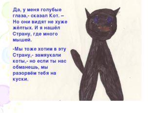 Да, у меня голубые глаза,- сказал Кот. – Но они видят не хуже жёлтых. И я наш
