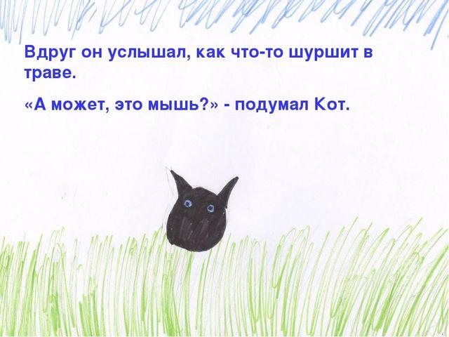 Вдруг он услышал, как что-то шуршит в траве. «А может, это мышь?» - подумал К...