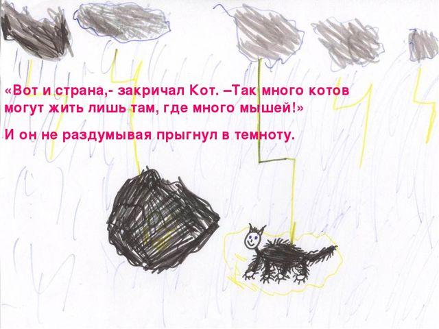 «Вот и страна,- закричал Кот. –Так много котов могут жить лишь там, где много...
