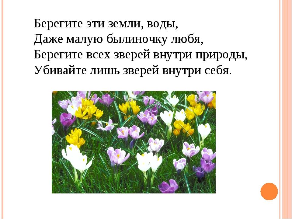 Е. ЕВТУШЕНКО Берегите эти земли, воды, Даже малую былиночку любя, Берегите вс...