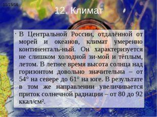 В Центральной России, отдалённой от морей и океанов, климат умеренно континен