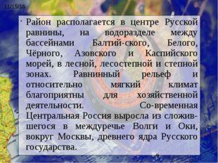 Район располагается в центре Русской равнины, на водоразделе между бассейнами