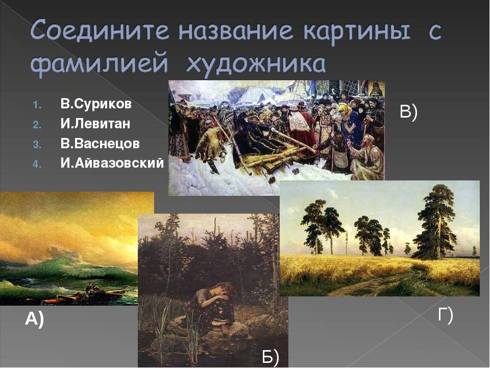 В.Суриков И.Левитан В.Васнецов И.Айвазовский А) Б) В) Г)