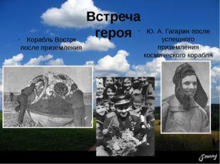 Встреча героя Корабль Восток после приземления Ю. А. Гагарин после успешного