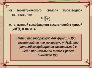 Из геометрического смысла производной вытекает, что есть угловой коэффициент