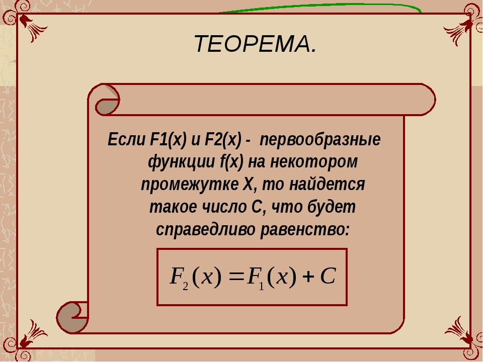 ТЕОРЕМА. Если F1(x) и F2(x) - первообразные функции f(x) на некотором промежу...