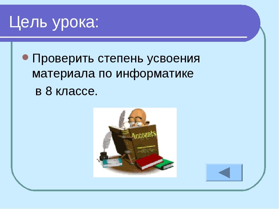 Цель урока: Проверить степень усвоения материала по информатике в 8 классе.