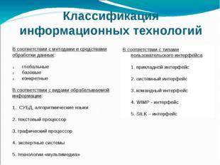 Классификация информационных технологий В соответствии с методами и средствам