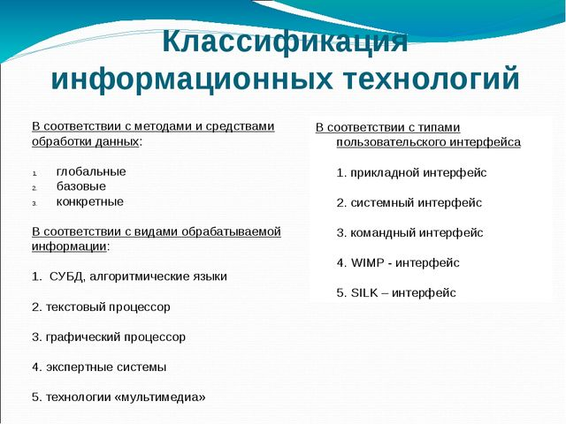 Классификация информационных технологий В соответствии с методами и средствам...