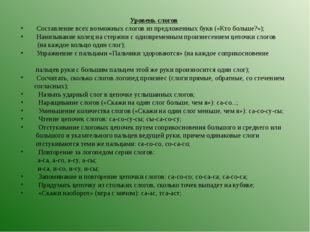 Уровень слогов  Составление всех возможных слогов из предложенных букв