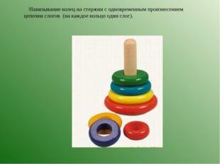 Нанизывание колец на стержни с одновременным произнесением цепочки слогов (на