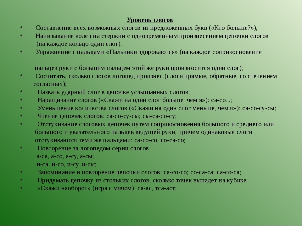 Уровень слогов  Составление всех возможных слогов из предложенных букв...