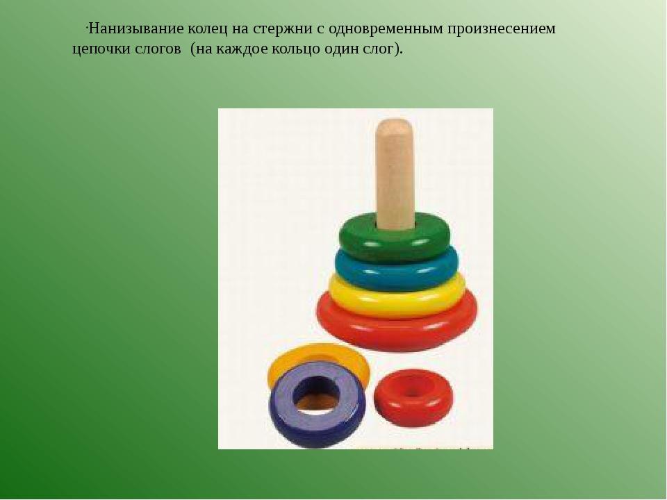 Нанизывание колец на стержни с одновременным произнесением цепочки слогов (на...