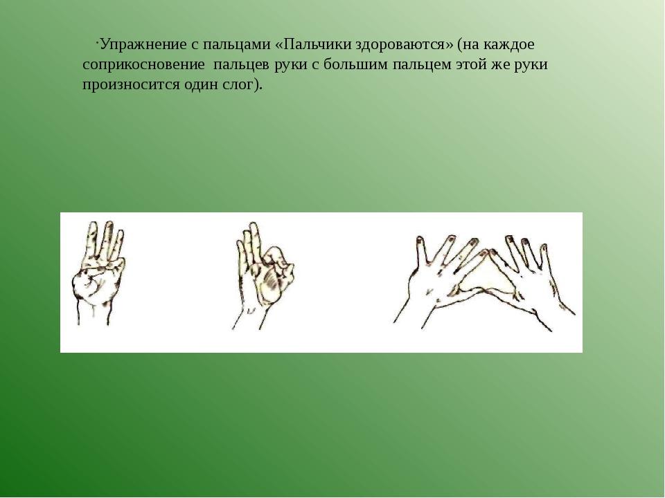 Упражнение с пальцами «Пальчики здороваются» (на каждое соприкосновение пальц...