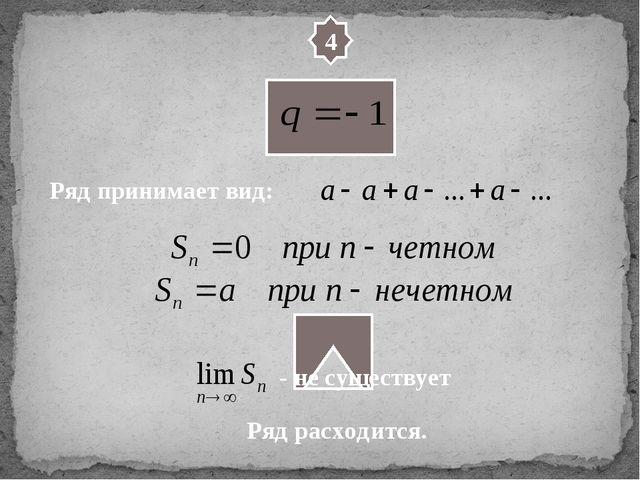 4 Ряд принимает вид: Ряд расходится. - не существует