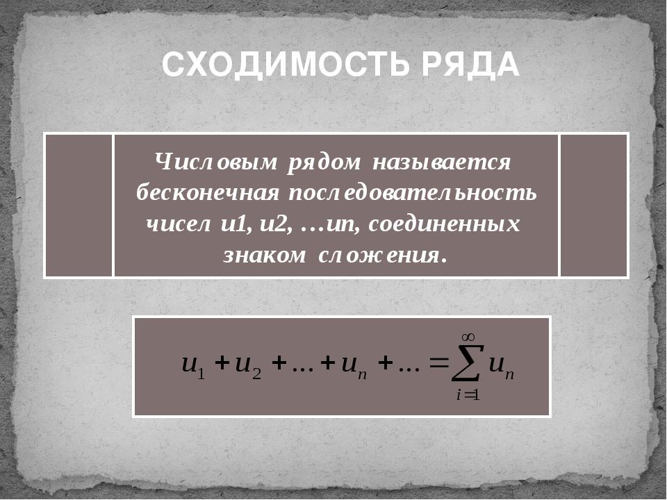 СХОДИМОСТЬ РЯДА Числовым рядом называется бесконечная последовательность чис...