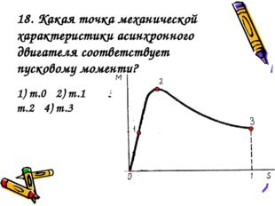 18. Какая точка механической характеристики асинхронного двигателя соответств
