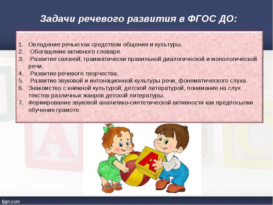 Задачи речевого развития в ФГОС ДО: