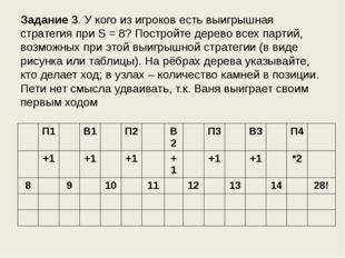 Задание 3. У кого из игроков есть выигрышная стратегия при S = 8? Постройте д