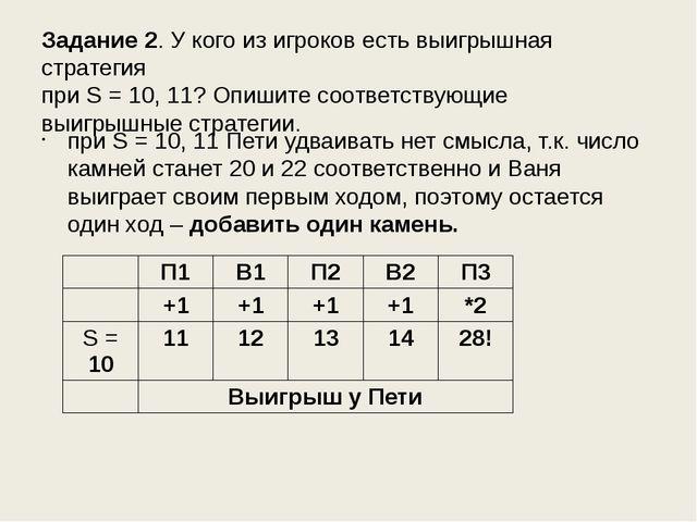 Задание 2. У кого из игроков есть выигрышная стратегия при S = 10, 11? Опишит...