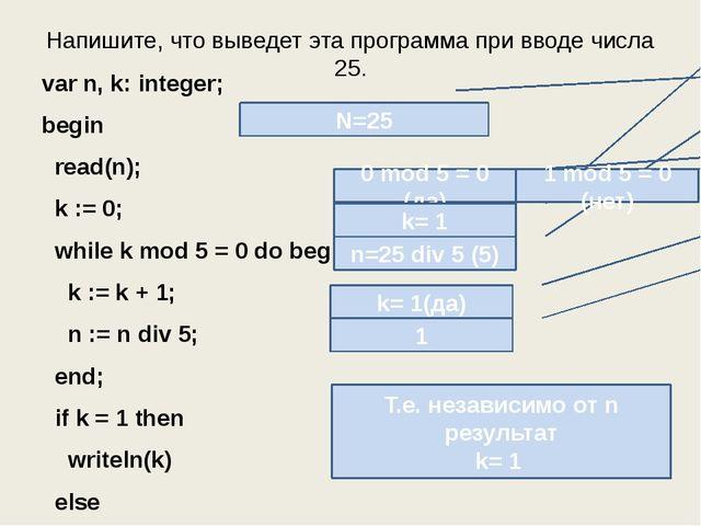 Напишите, что выведет эта программа при вводе числа 25. var n, k: integer; be...