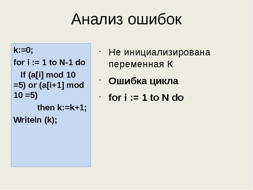 Анализ ошибок Не инициализирована переменная К Ошибка цикла for i := 1 to N d...