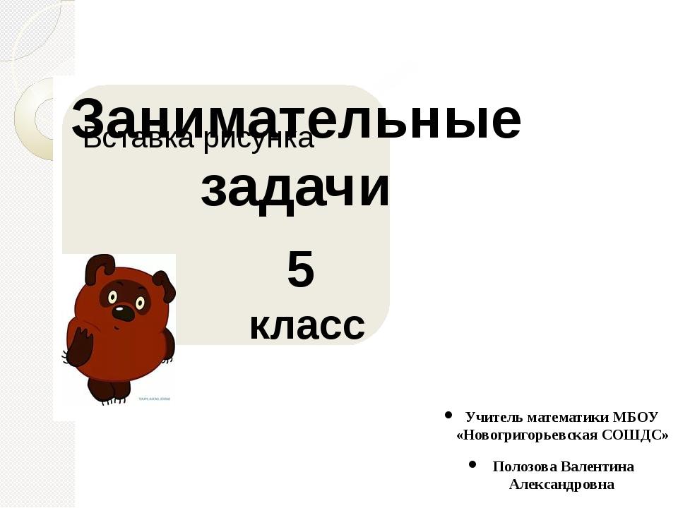 Занимательные задачи 5 класс Учитель математики МБОУ «Новогригорьевская СОШДС...