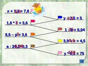 х + 1,2 = 7,8 1,8 * с = 3,6 у – 1,5 = 5 8,6 – р = 3,6 y * 0,5 = 75 a : 20,2=0