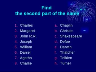 Find the second part of the name Charles Margaret John R.R. Joseph William Da
