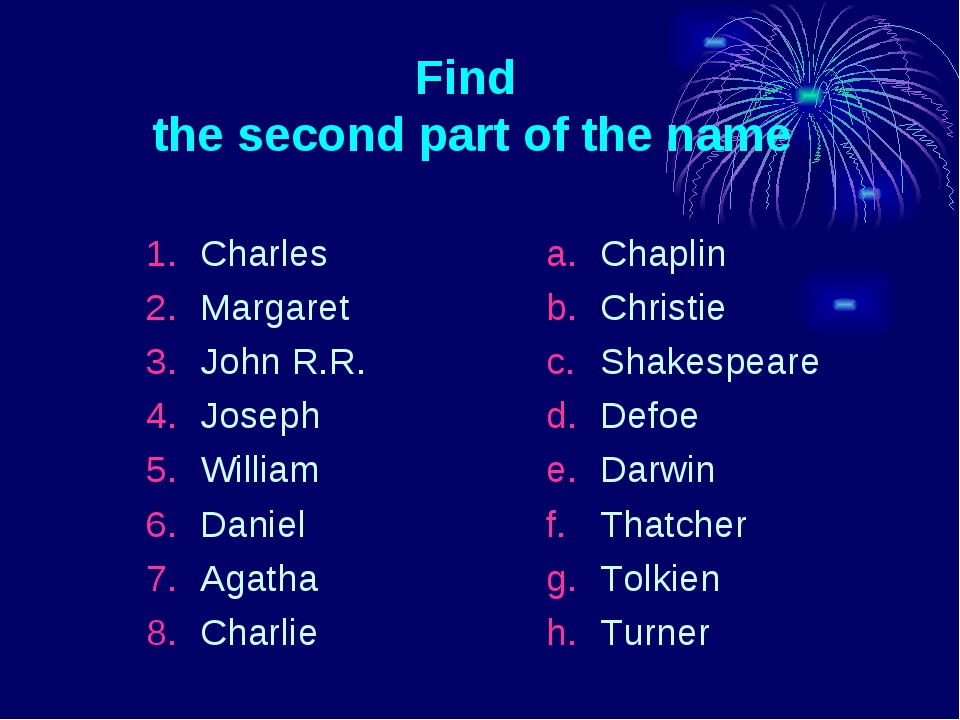 Find the second part of the name Charles Margaret John R.R. Joseph William Da...