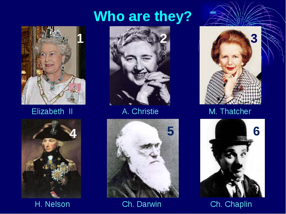 Who are they? Elizabeth II A. Christie M. Thatcher H. Nelson Ch. Darwin Ch. C...