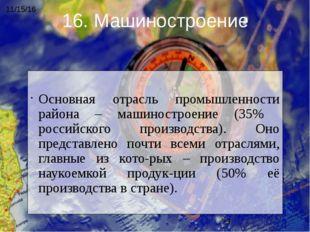 Основная отрасль промышленности района – машиностроение (35% российского про