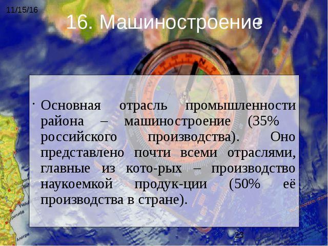 Основная отрасль промышленности района – машиностроение (35% российского про...